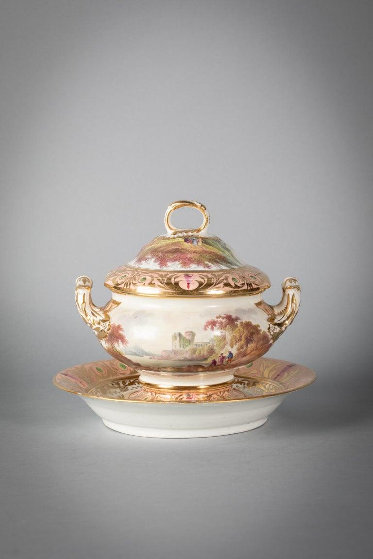 English Porcelain Peach-Ground Dessert Service, Derby, circa 1820 For Sale 14
