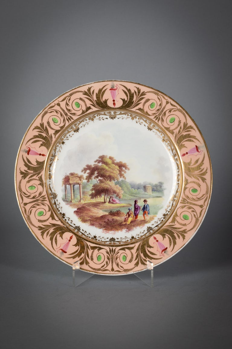English Porcelain Peach-Ground Dessert Service, Derby, circa 1820 In Good Condition For Sale In New York, NY