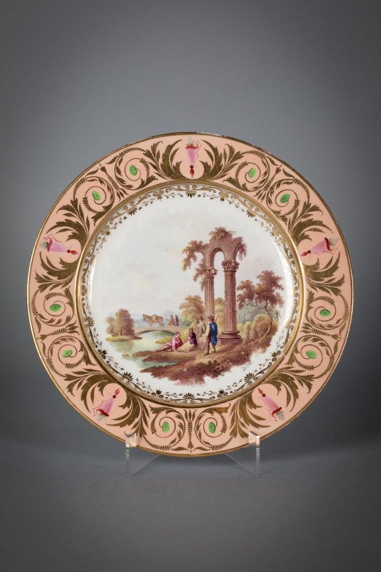 English Porcelain Peach-Ground Dessert Service, Derby, circa 1820 For Sale 1