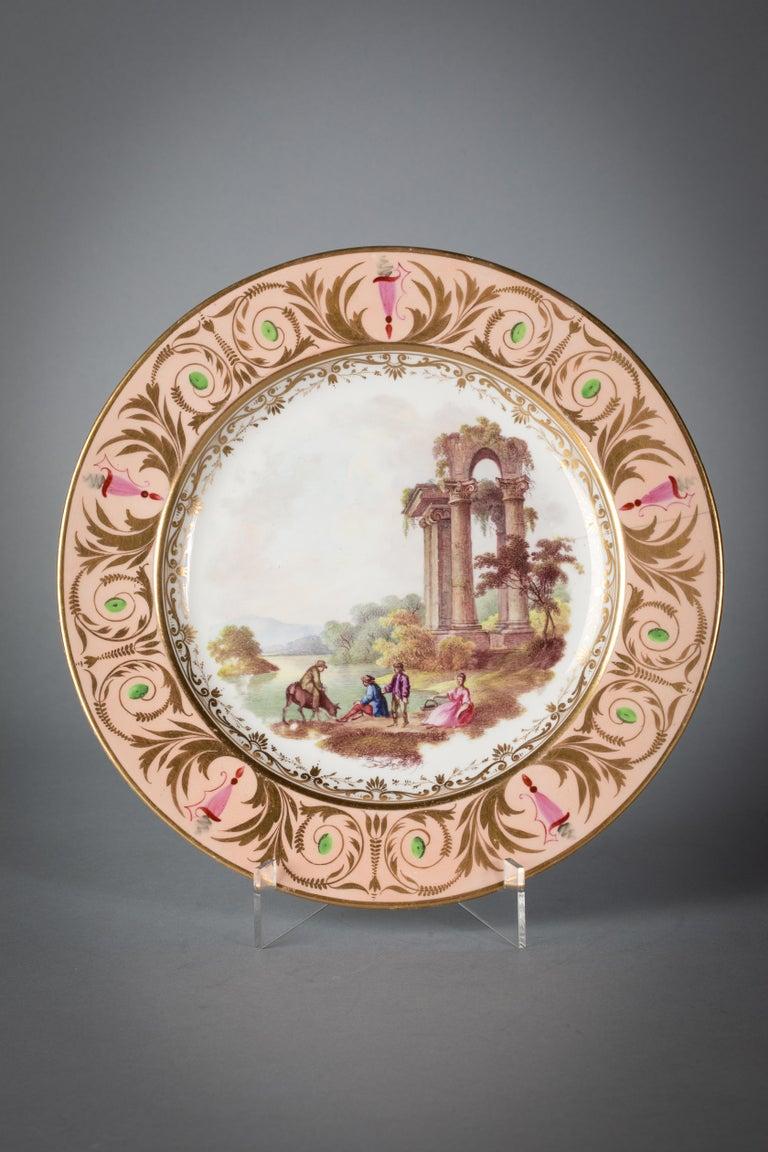 English Porcelain Peach-Ground Dessert Service, Derby, circa 1820 For Sale 3