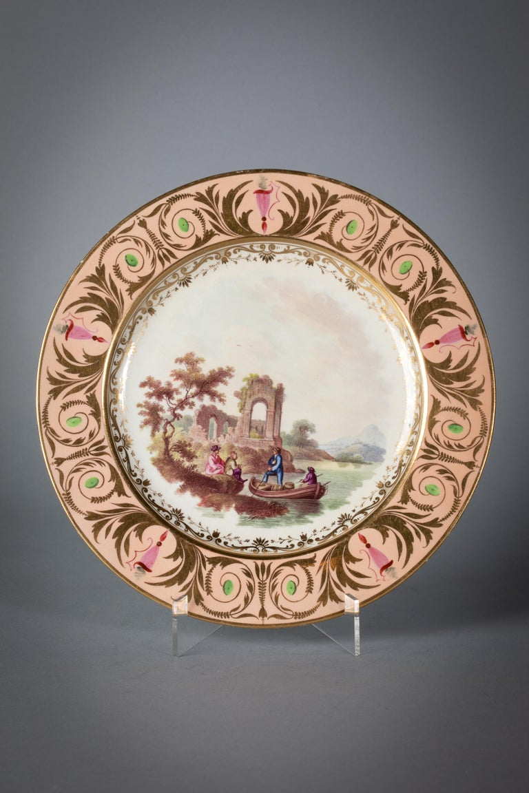 English Porcelain Peach-Ground Dessert Service, Derby, circa 1820 For Sale 5