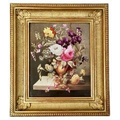 English Porcelain Plaque with Flower Bouquet, Regency ca 1825