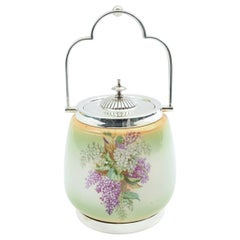 English Porcelain Silver Plate Covered Ice Bucket