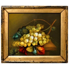English Porcelain Still Life Plaque depicting Green Grapes on a Tabletop, 1830s