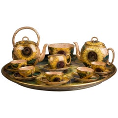 English Porcelain Sunflower Part Tea Service and Tray, Pinder-Bourne, circa 1880