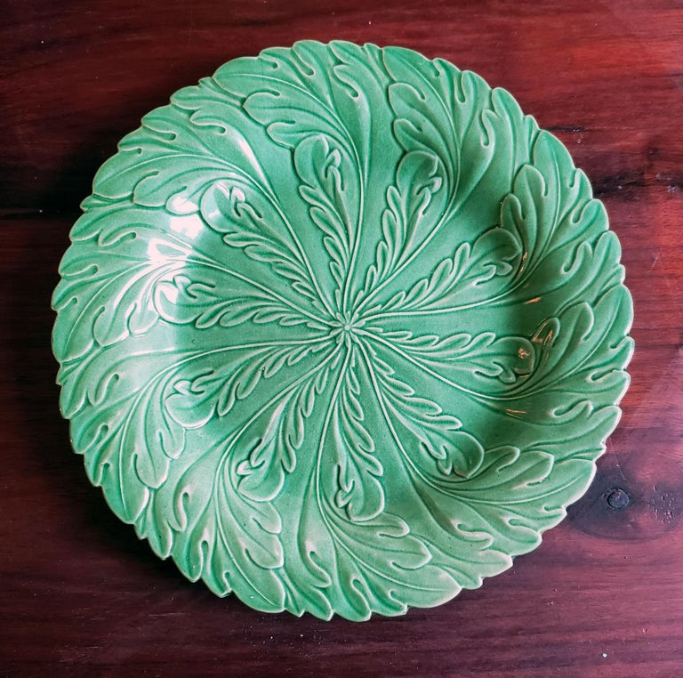 English Pottery Green-Glazed Leaf Plates, Possibly Brameld, Yorkshire For Sale 5