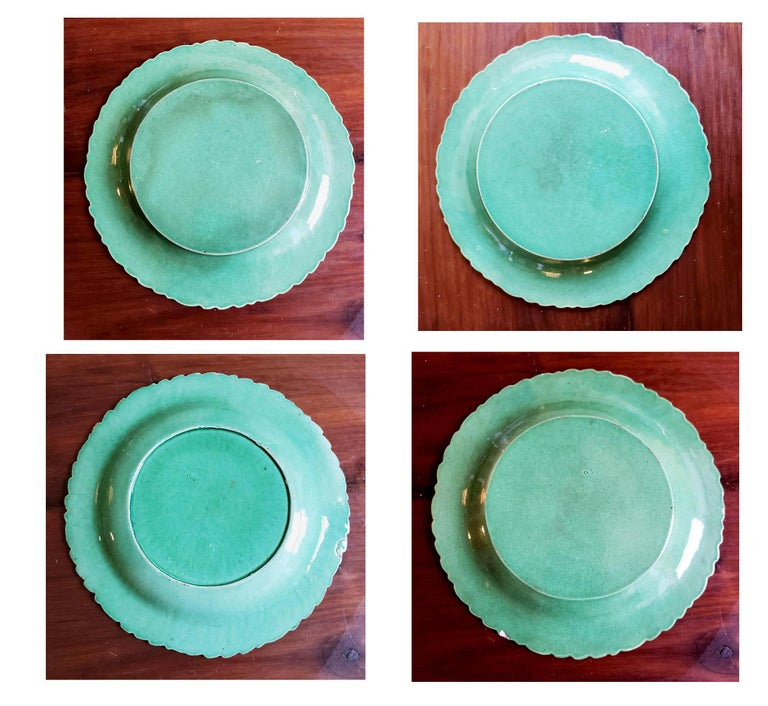 English pottery green-glazed leaf plates,