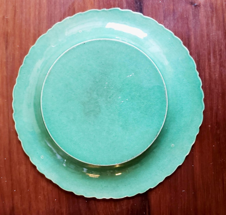 Georgian English Pottery Green-Glazed Leaf Plates, Possibly Brameld, Yorkshire For Sale
