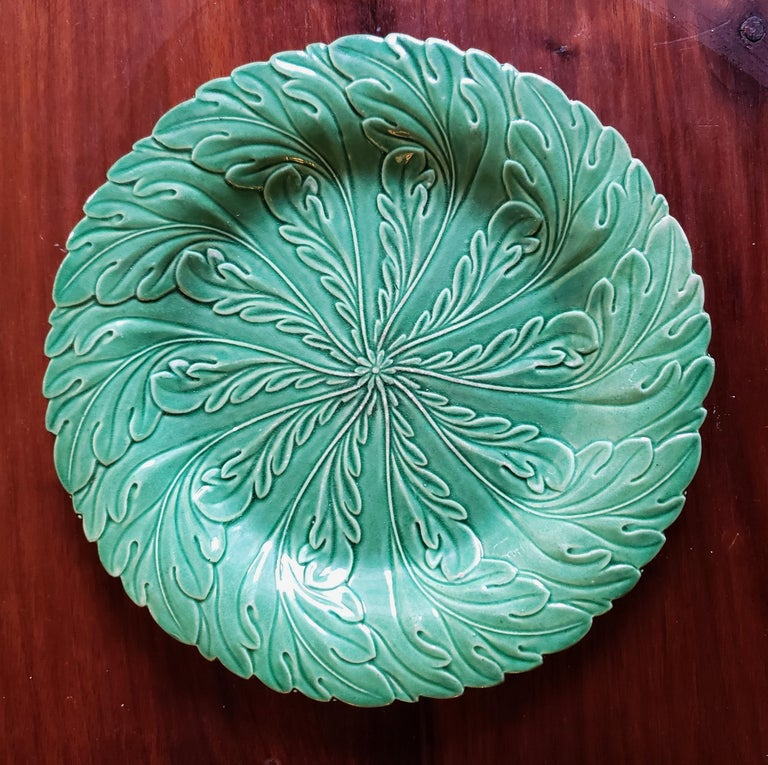 English Pottery Green-Glazed Leaf Plates, Possibly Brameld, Yorkshire In Good Condition For Sale In Maryknoll, NY