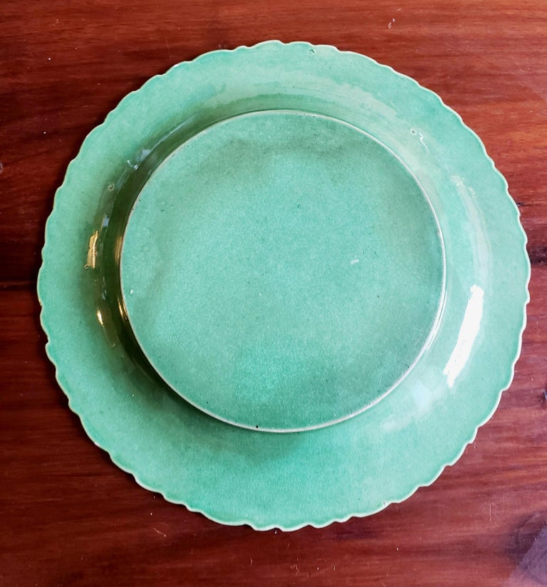 19th Century English Pottery Green-Glazed Leaf Plates, Possibly Brameld, Yorkshire For Sale