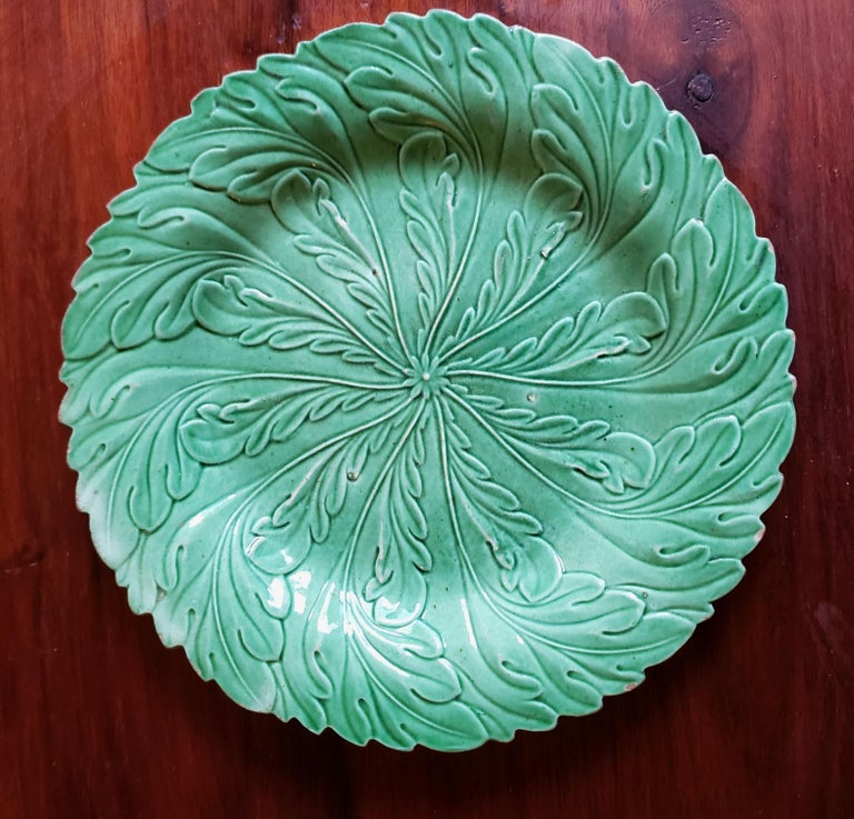 English Pottery Green-Glazed Leaf Plates, Possibly Brameld, Yorkshire For Sale 3