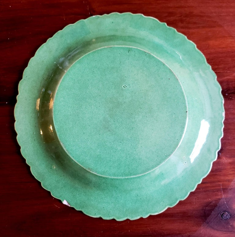 English Pottery Green-Glazed Leaf Plates, Possibly Brameld, Yorkshire For Sale 4