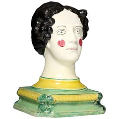 English Pottery Pearlware Head on Base Probably Queen Charlotte, circa 1815