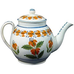 English Pottery Pearlware Teapot decorated with Unusual Prattware Orange Flowers