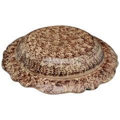English pottery tortoiseshell decorated dish probably Thomas Whieldon mid 18thC