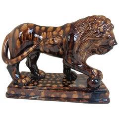 English Pottery Treacle Sponge Glazed Lion