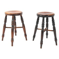 English Provincial Elmwood  Stools with Turned Legs, 1860s