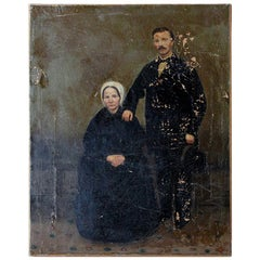 English Provincial School Oil on Canvas, Portrait of a Gentleman and His Wife