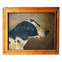 English Provincial School Oil on Canvas Study of a Hound, c.1900
