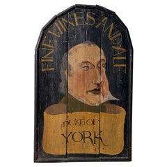 "English Pub Sign, ""Fine Wines and Ale, Duke of York"""