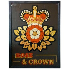"English Pub Sign, ""Rose and Crown"""