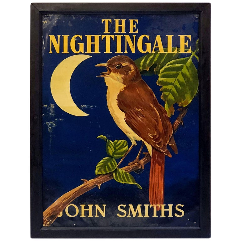 "English Pub Sign, ""The Nightingale"" For Sale"