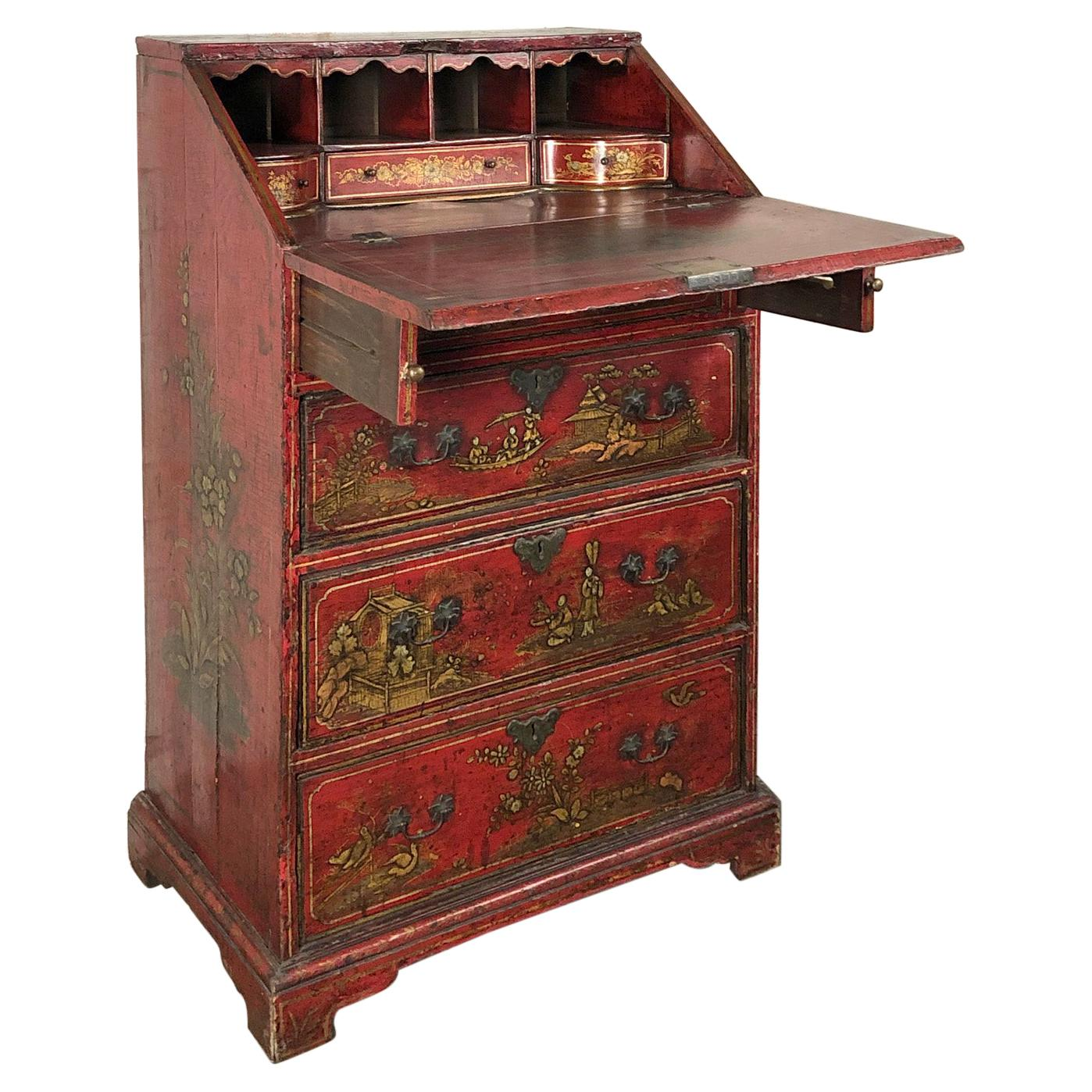 English Queen Anne, Early 18th Century Red Chinoiserie Lacquer Desk / Commode