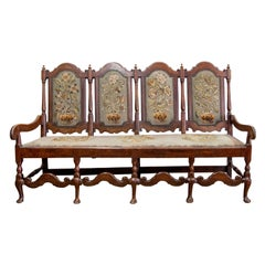 English Queen Anne Stretcher Base Settee