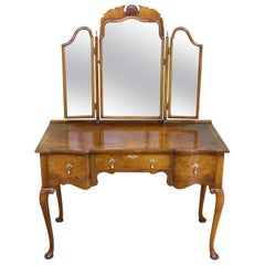 English Queen Anne Style Burr Walnut Dressing Table