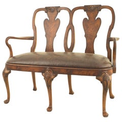 English Queen Anne Style Carved Open Arm Loveseat