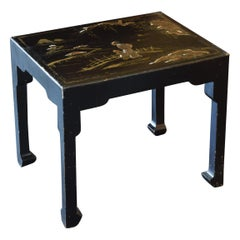 English Queen Anne Style Ebonized & Raised Gilt Chinoiserie Low Table, 2q 20thc