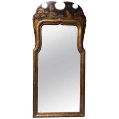 English Queen Anne Style Japanned Mirror, 19th Century