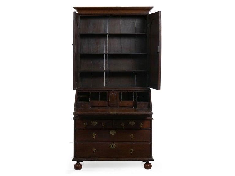 Peachy English Queen Anne Style Oak Antique Secretary Desk With Bookcase 18Th Century Download Free Architecture Designs Embacsunscenecom