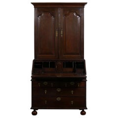 English Queen Anne Style Oak Antique Secretary Desk with Bookcase, 18th Century