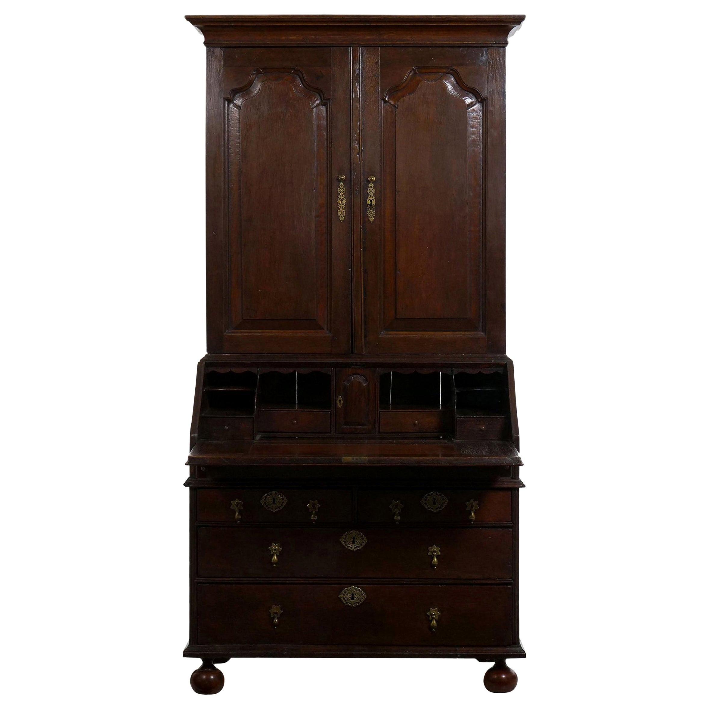 English Queen Anne Style Oak Antique Secretary Desk with Bookcase, 18th Century