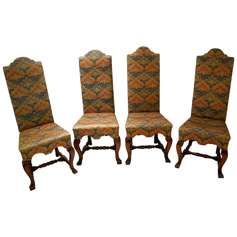 English Queen Anne Style Set of Four Walnut High Back Upholstered Side Chairs For Sale