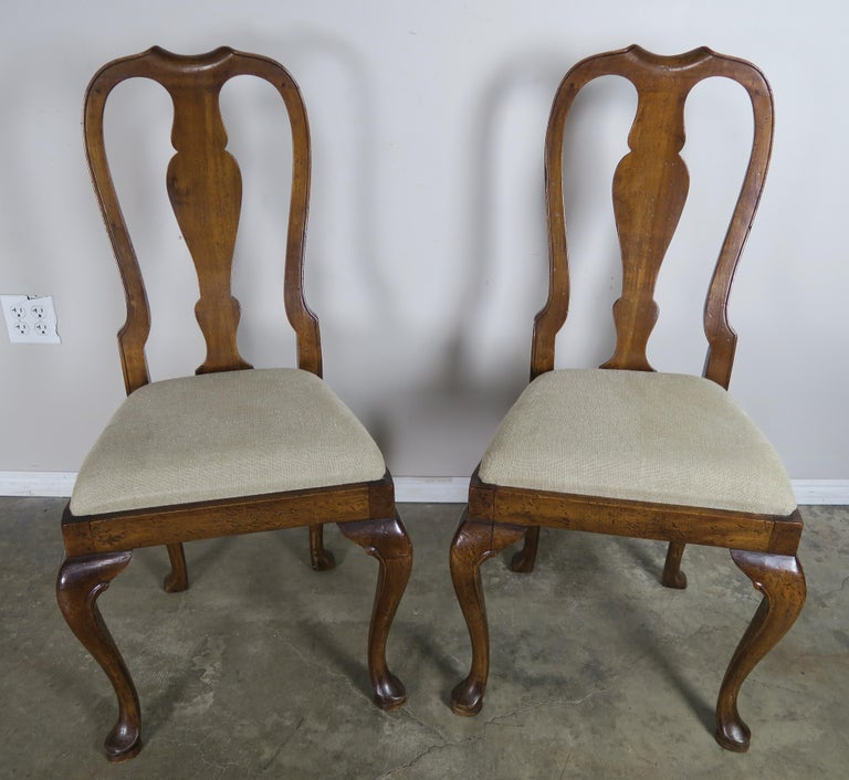 English Queen Anne Style Side Chairs, Set of Four For Sale 5