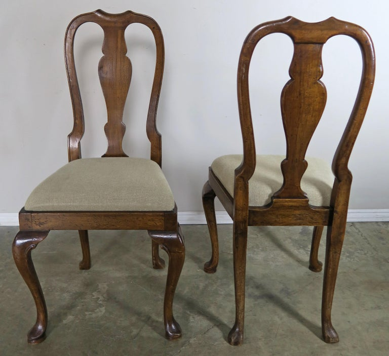 English Queen Anne Style Side Chairs, Set of Four For Sale 6