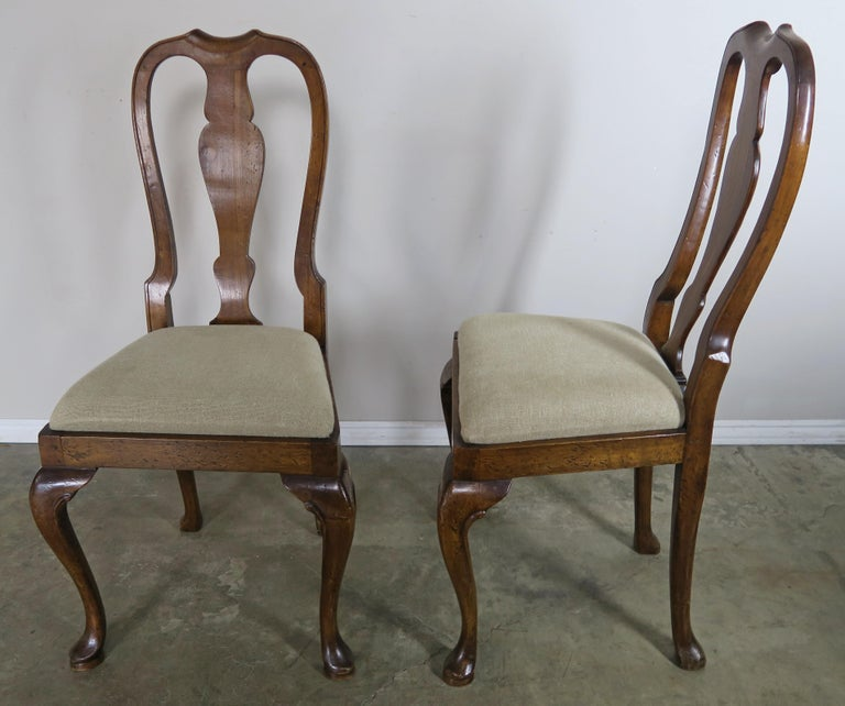 English Queen Anne Style Side Chairs, Set of Four For Sale 7