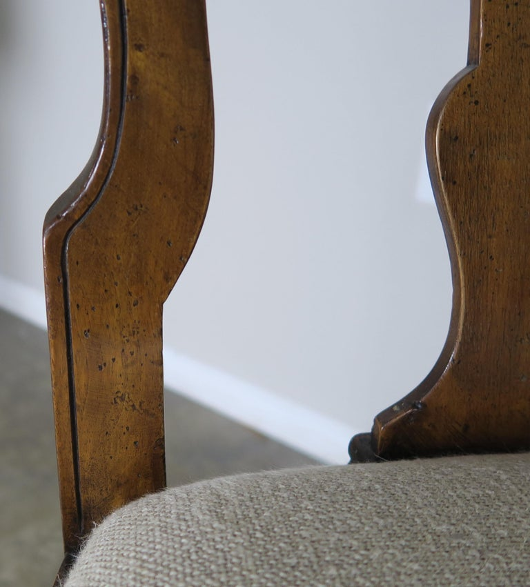 Linen English Queen Anne Style Side Chairs, Set of Four For Sale