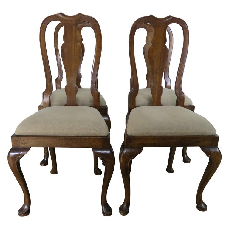 English Queen Anne Style Side Chairs, Set of Four For Sale