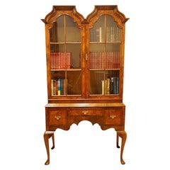 English Queen Anne Style Walnut Double Dome Bookcase, Made circa 1920