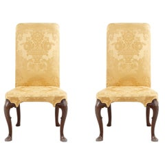 English Queen Anne Yellow Damask Upholstered Side Chairs