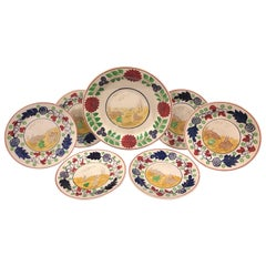 English Rabbit & Frog Stick Spatter Seven-Piece Supper Set
