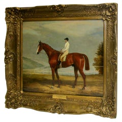English Racehorse Oil Painting by F. C. Turner 1839 Harkaway Winner Goodwood Cup