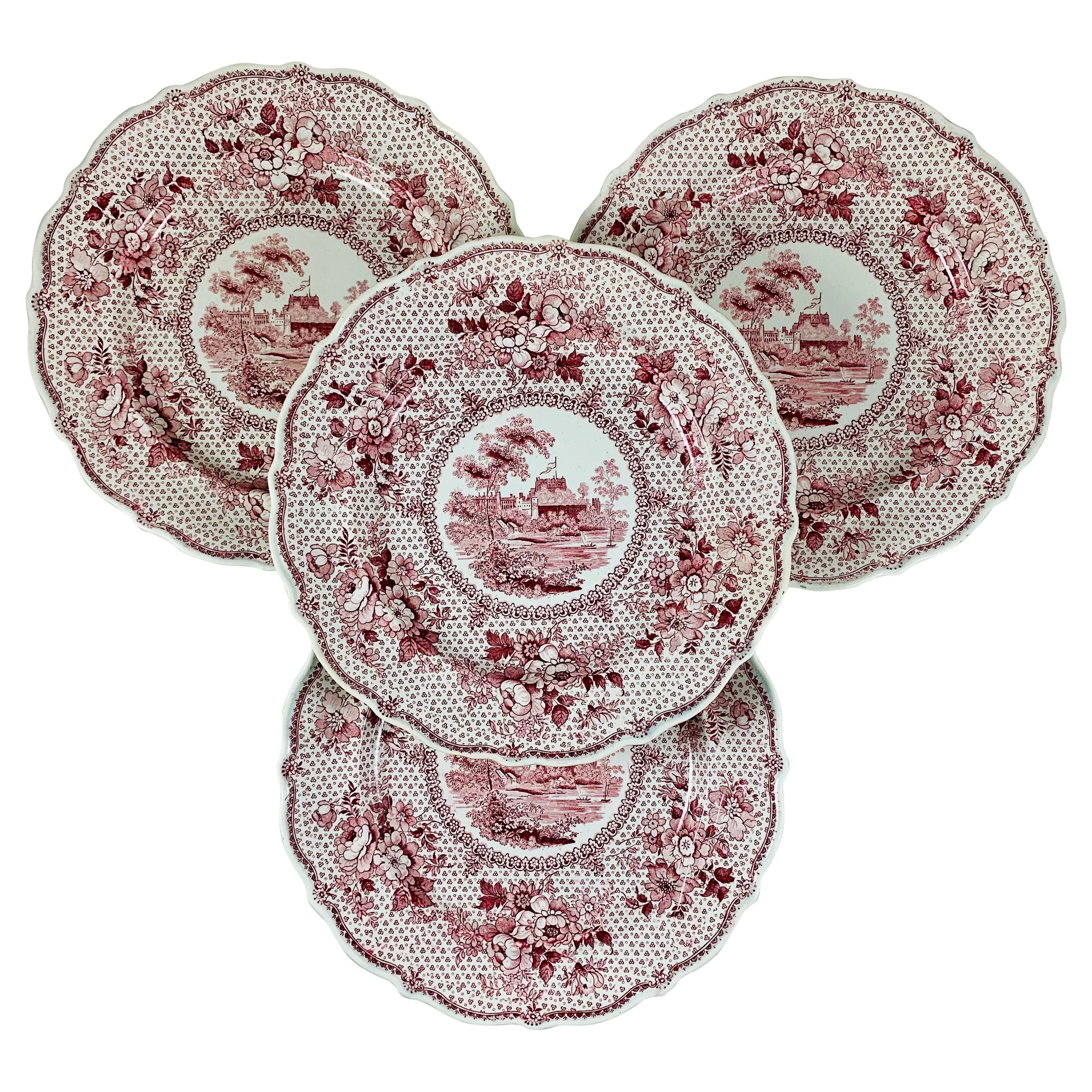 English Ralph Stevenson 'Windsor Castle' Red Transferware Dinner Plates, set/4