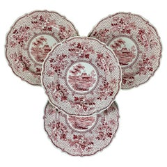 English Ralph Stevenson 'Windsor Castle' Red Transferware Dinner Plates, set/4