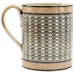 English Rare and Unusual Mochaware Slip Decorated Mug, Late 18th Century