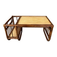 English Rattan and Bamboo Breakfast Bed Tray with Magazine Rack