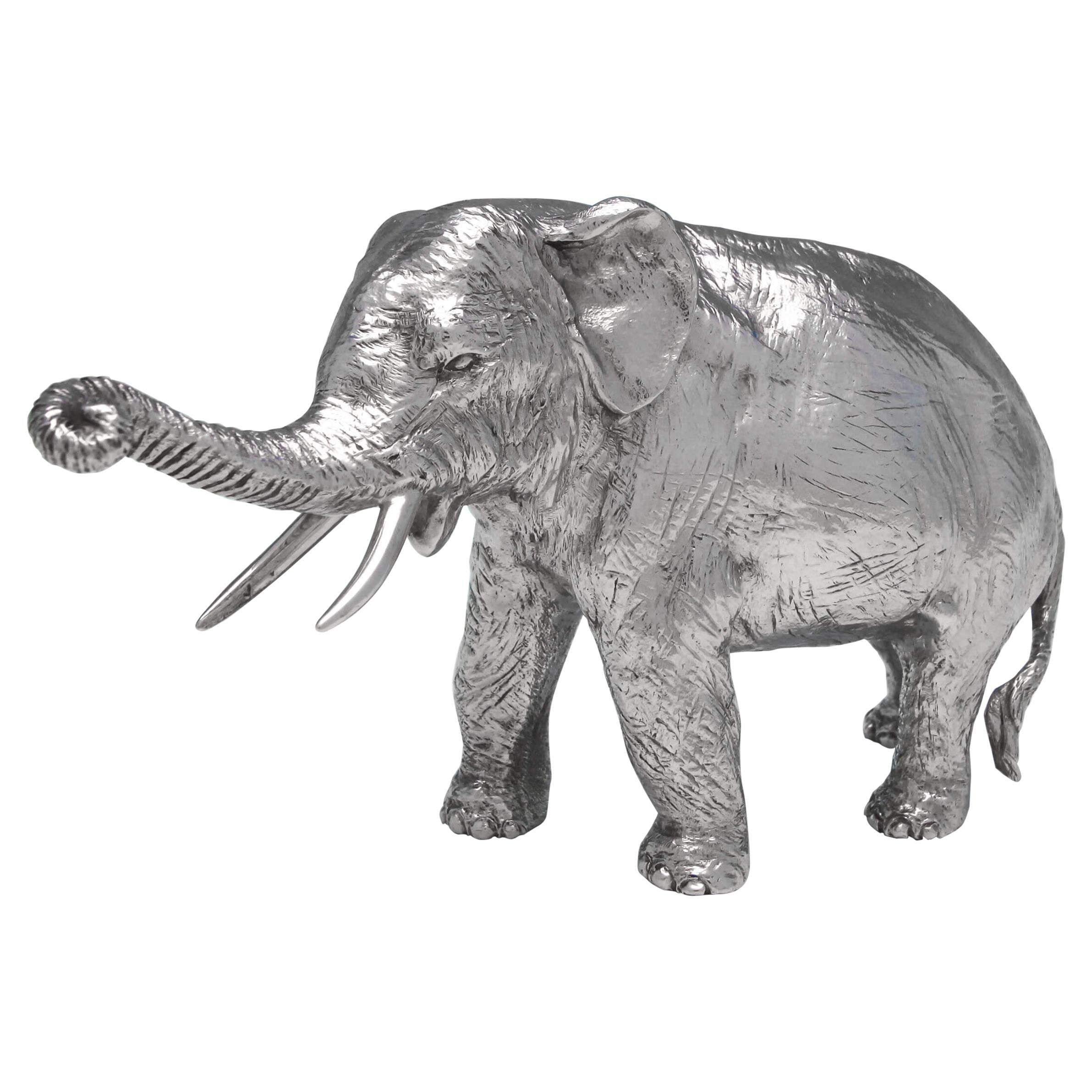 English Realistically Cast and Heavy Sterling Silver Elephant Model Made in 1973